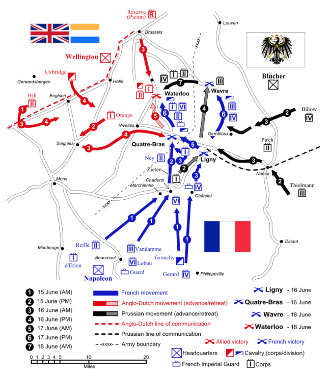 """Source: """"Waterloo Campaign map-alt3"""" by Ipankonin - Self-made. Vectorized from raster image Flags from. Licensed under CC BY-SA 3.0 via Wikimedia Commons - https://commons.wikimedia.org/wiki/File:Waterloo_Campaign_map-alt3.svg#/media/File:Waterloo_Campaign_map-alt3.svg"""