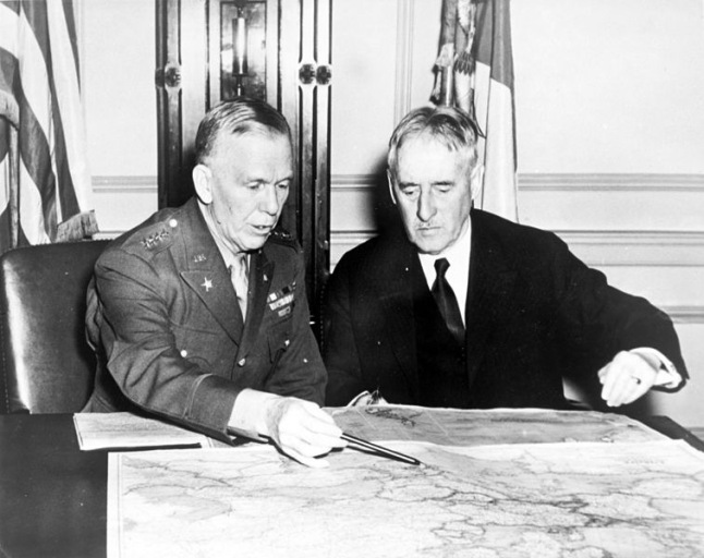 Amy Chief of Staff Marshall and Secretary of War Henry Stimson confer in early 1942. The two WW1 veterans were instrumental in the creation of the Manhattan Project ushering in the Atomic Age.